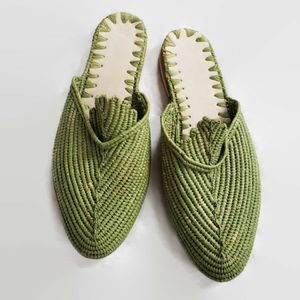 SOLD Slides Made in Morocco - lime green